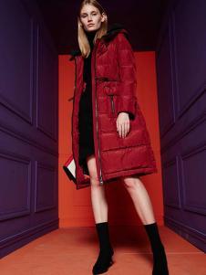 芭芭利亚女装红色宽松羽绒服