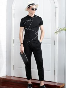男人代码男装黑色商务T恤