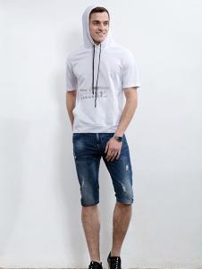 男人代码男装白色带帽上衣