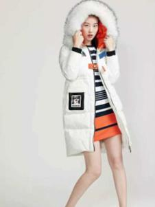 芭芭利亚女装白色韩版羽绒服