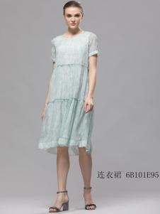 2018imili艺梦来浅绿夏长裙