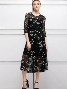 imili艺梦来18黑色波点连衣裙