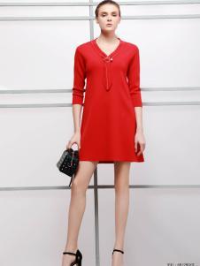 imili艺梦来18红色时尚连衣裙