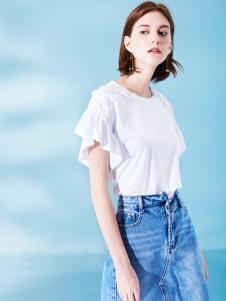 Venvee樊羽女装18夏白色时尚T恤