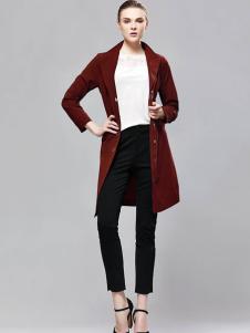 imili艺梦来18酒红色时尚外套