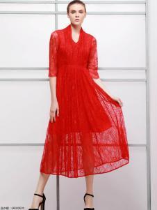 imili艺梦来18精美红色蕾丝裙