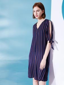 Venvee樊羽女装18夏条纹连衣裙