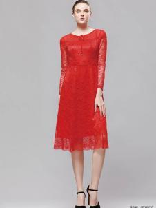 imili艺梦来18红色蕾丝裙