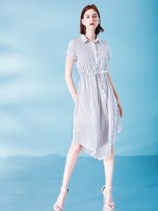 Venvee樊羽女装18夏条纹衬衫裙
