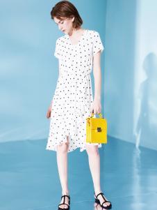 Venvee樊羽女装18夏白色波点连衣裙
