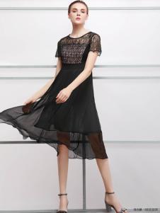 2018imili艺梦来夏款黑色雪纺裙