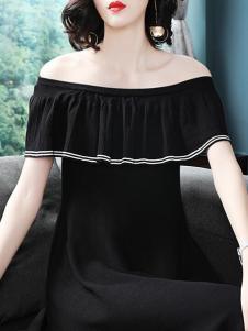 芭莎女王女装黑色一字肩连衣裙