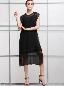 2018imili艺梦来夏黑色宽松连衣裙