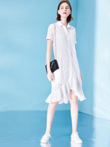 Venvee樊羽女装18夏白色荷叶边裙子