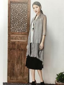 颜可可女装灰色透明外套