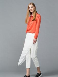颜可可女装橘红色休闲衬衫