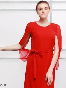 2018imili艺梦来红色优雅长裙