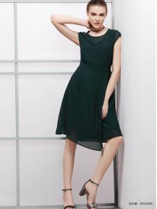 2018imili艺梦来墨绿色优雅连衣裙