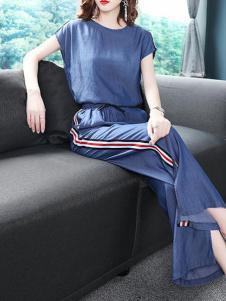 芭莎女王女装藏青棉麻套装