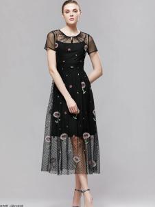 imili艺梦来2018唯美黑色连衣裙