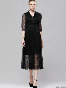 imili艺梦来18黑色连衣裙