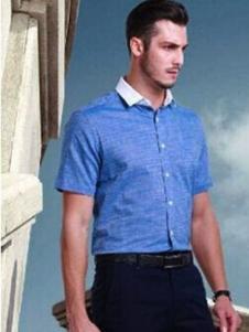 巴赛诺男装蓝色商务T恤