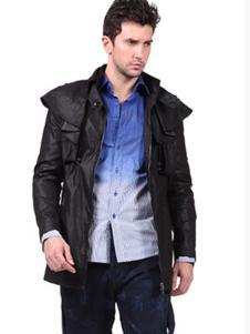 巴赛诺男装黑色休闲外套