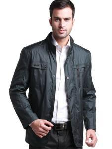 巴赛诺男装黑色立领夹克