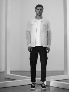 FARMER TEA男装白色休闲衬衫