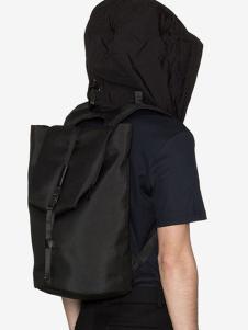 高迪斯奧黑色大容量系扣雙肩包