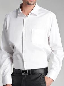 巴赛诺男装白色商务衬衫