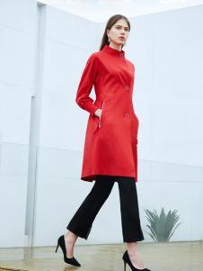 添姿2018女装新品红色大气风衣