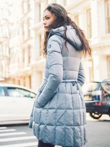 雪人女装蓝色韩版羽绒服