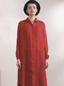 必然女装红色长款衬衫