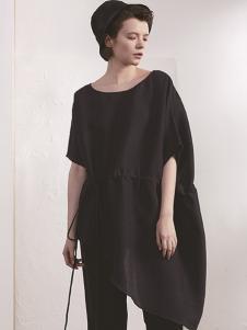 必然女装黑色不规则连衣裙