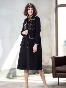 艾达禾女装黑色刺绣大衣