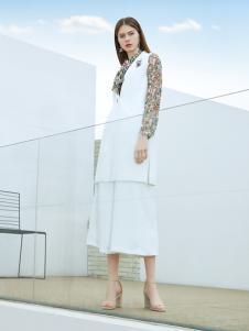添姿2018女装新品纯白色无袖上下套装