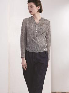 必然女装必然女装灰色立领衬衫