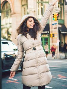 雪人女装灰色修身羽绒服
