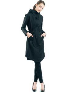 雪人女装黑色羽绒服