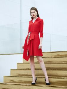 添姿2018女装新品大红色不规则裙摆连衣裙