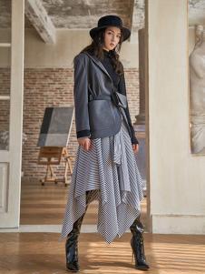 路尼裟女装条纹不规则半身裙