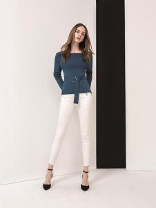 羽沙国际女装青色修身针织衫