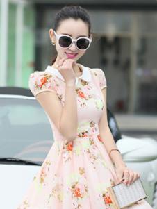 海爱依仁女装粉色碎花连衣裙