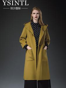 羽沙国际女装黄色休闲大衣