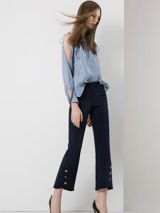 羽沙国际女装蓝色露肩衬衫