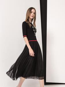羽沙国际女装黑色修身针织衫