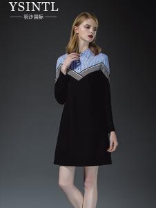 羽沙国际女装黑色针织连衣裙