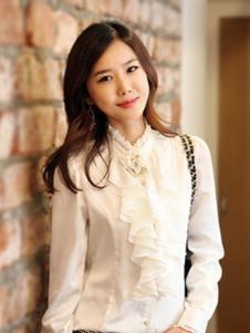 海爱依仁女装白色立领衬衫
