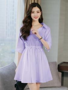 海爱依仁女装淡紫色收腰连衣裙